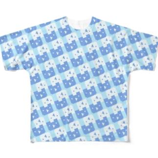 ドットルックマ大量発生(みずタイプ) Full graphic T-shirts