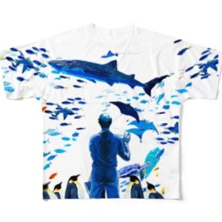 水族館(裏面なし) Full graphic T-shirts