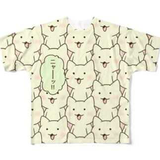 「ニャー(フルカラー)」 Full graphic T-shirts