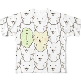 「ニャー(ワンポイント・カラー)」 Full graphic T-shirts
