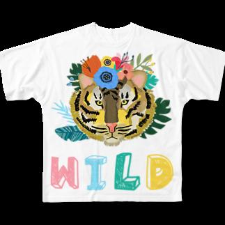 SANKAKU DESIGN STOREのワイルドだろ?草食系タイガー。 上 Full graphic T-shirts