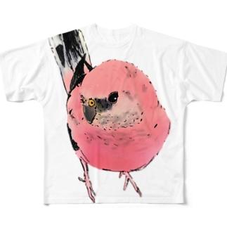 見つめるアキクサインコ Full graphic T-shirts