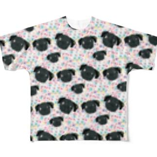 黒パグのちびっ子フルグラフィック Full graphic T-shirts