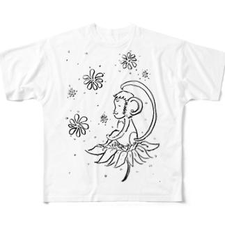 幸せの花とさる Full graphic T-shirts