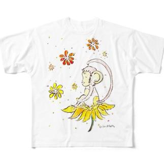 幸せのお花とさる Full graphic T-shirts