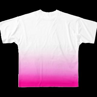 SHUNKAのピンクグラデーション(イチゴ) Full graphic T-shirts