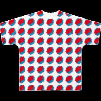 SANKAKU DESIGN STOREの赤青/青赤 ブラシ水玉模様。C Full graphic T-shirts