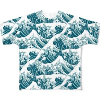 富嶽三十六景の波がいっぱい。 Full graphic T-shirts