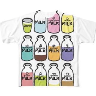 らくがきシリーズ『イロイロみるく』カラフル Full graphic T-shirts