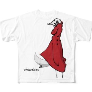 ボルゾイ スタイリッシュ(両面プリント) Full graphic T-shirts
