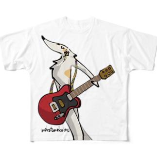 ロックンロール ボルゾイ(両面プリント) Full graphic T-shirts