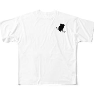 ちょこんとデグーシルエット Full graphic T-shirts