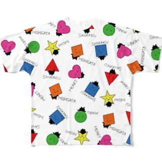 いろんなかたちさん柄白 Full graphic T-shirts