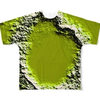 ハート型クレーターのつもり Full graphic T-shirts