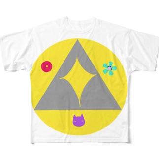 天地猫、推定3才 デザイン Full graphic T-shirts