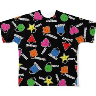 いろんなかたちさん柄黒 Full graphic T-shirts