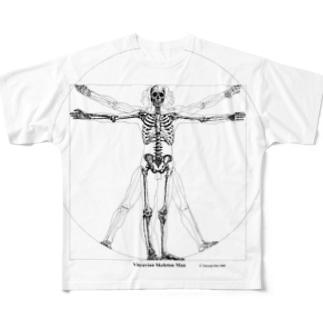 Vitruvian Skeleton Man Full graphic T-shirts