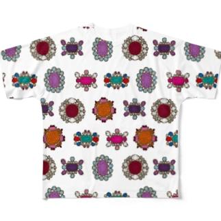 ジュンカジュエル ホワイト Full graphic T-shirts