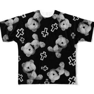 Peek-a-boo CROSS Teddy Monochrome Random Full graphic T-shirts