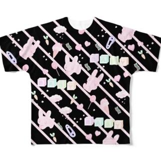 ウサギ・パターン・ファンシー(★) Full Graphic T-Shirt