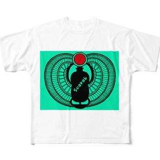 古代エジプト・有翼スカラベ Full graphic T-shirts