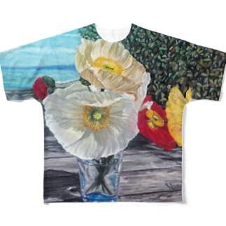 ウッドデッキとポピー Full graphic T-shirts