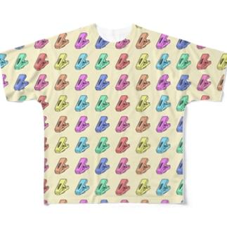 模様(洗濯バサミ) Full graphic T-shirts