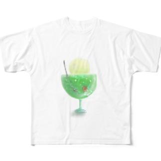 【透過】ふわふわメロンクリームソーダ Full graphic T-shirts