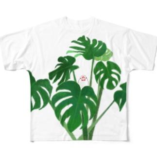 白文鳥とモンステラ Full graphic T-shirts