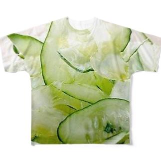 星空青井の夏っぽいね!胡瓜とセロリのサラダだよ! Full graphic T-shirts