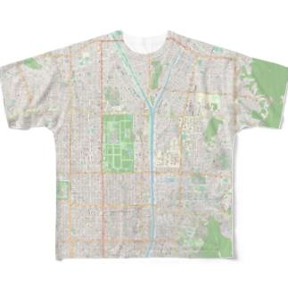 京大 & 京都御所地図 Full graphic T-shirts