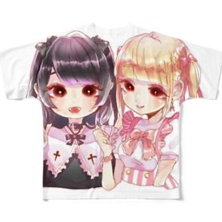 地雷量産ちゃんver.白 Full graphic T-shirts