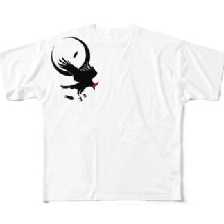 レイヴン/三日月 Full graphic T-shirts