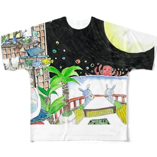 月と蛸 Full graphic T-shirts