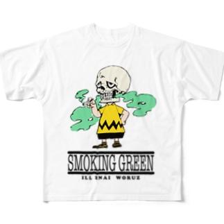 SMOKING GREEN Full graphic T-shirts