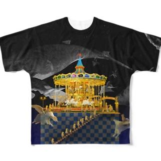 メリーゴーランドしかない遊園地 くじらバージョン  Full graphic T-shirts