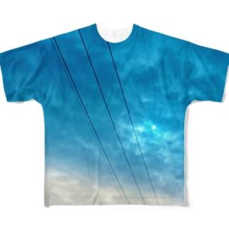 電線と雲。 Full graphic T-shirts