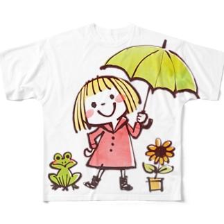 なつゆる「おはよう(雨)」 Full graphic T-shirts