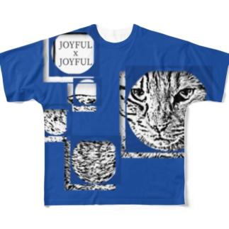1枚限定デザイン! JOYFUL x JOYFUL No.a1 瑠璃色 Full graphic T-shirts