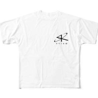 SK ovium 黒ロゴ Full graphic T-shirts