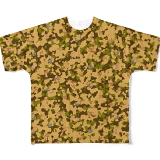 迷彩柄のたぬきさん Full graphic T-shirts