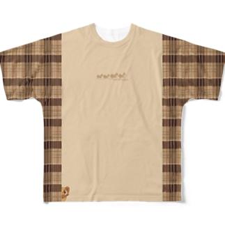 たぬきさんしっぽ付きチェック切り替えシャツ Full graphic T-shirts