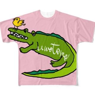 ワニと小鳥 Full graphic T-shirts