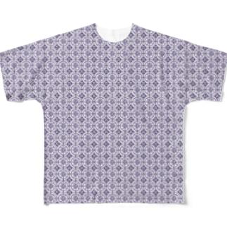 文様 藤 Full graphic T-shirts