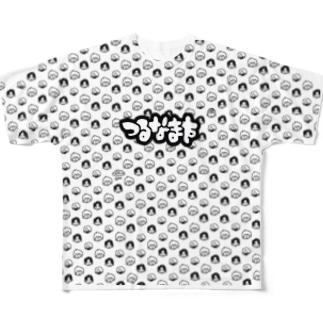 つるなます総柄 Full graphic T-shirts