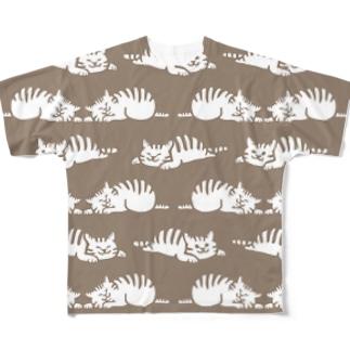 しましまマーチ 茶色 Full graphic T-shirts