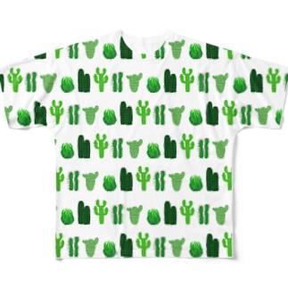 🌵カクタス🌵ホワイト🌵 Full graphic T-shirts