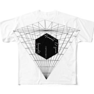 ブラックキューブ 反転ピラミッド Full graphic T-shirts