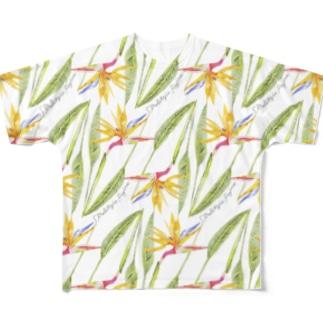トロピカルフラワー Full graphic T-shirts