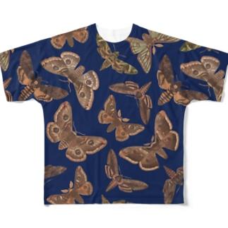 欧州の蛾(青) Full graphic T-shirts